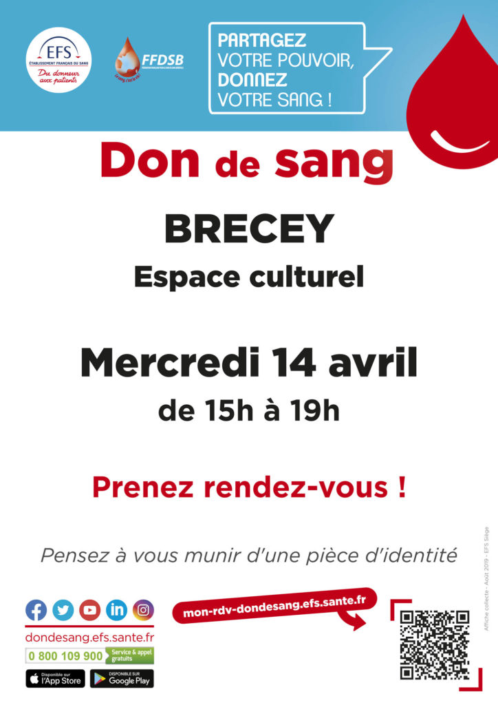 Affiche de la collecte de sang à Brécey